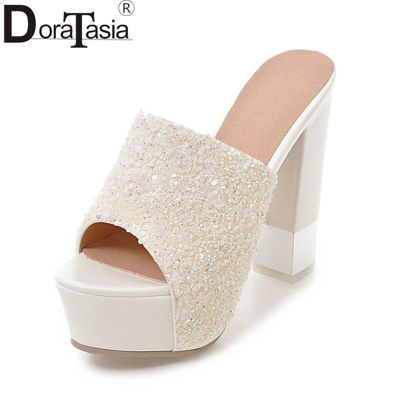 DoraTasia 2018 New Arrivals Top Quality Summer Shoes Woman Sexy Square High Heels Mules Pumps Shoes WomenDoraTasia 2018 New Arrivals Top Quality Summer Shoes Woman Sexy Square High Heels Mules Pumps Shoes Women
