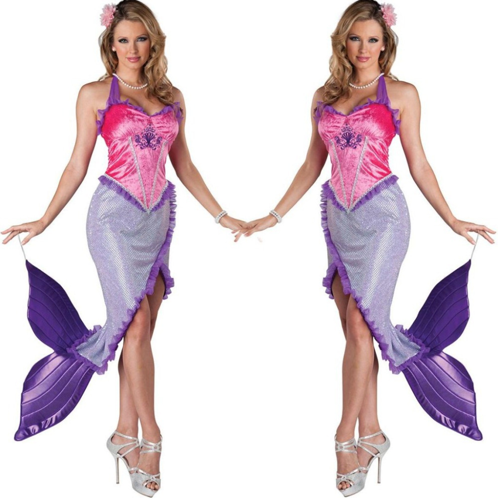 Mermaid Ariel Pink Sexy Fancy Dress Up Halloween Deluxe Adult Costume Outfit M индийский костюм для танцев девочек