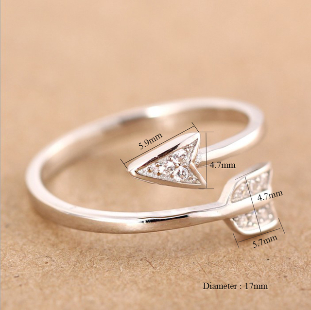 Shuangshuo 2017 New Arrival Fashion Silver Plated Arrow crystal rings for women Adjustable Engagement ring arrow women 2