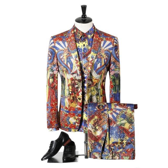 2017 New Suits Men British Latest Blazer+shirt+pants Three Piece Suit Printing Designs Mens Suit Slim Fit Party Tuxedos