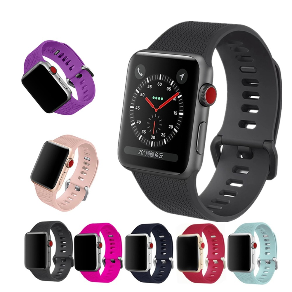 Sport silicone strap For Apple watch band 42mm 38mm iWatch series 3 2 1 bracelet wrist belt watchband with metal Classic Buckle все цены
