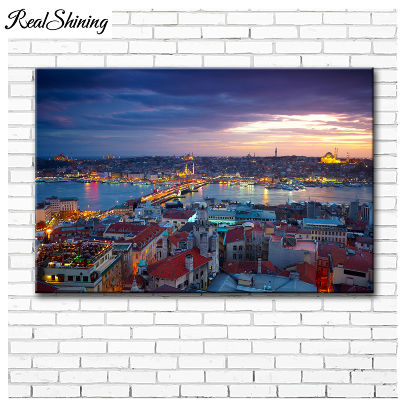 diy 5d mosaic full embroidery Turkey <font><b>Istanbul</b></font> city landscape diamond painting square round drill paint with diamonds FS4492 image
