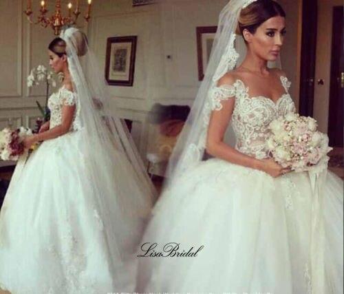Vestido de novia Fashion New Wedding Dress 2017 O-neck Button Back Ball Gown Appliques Tulle Bride Dresses Casamento