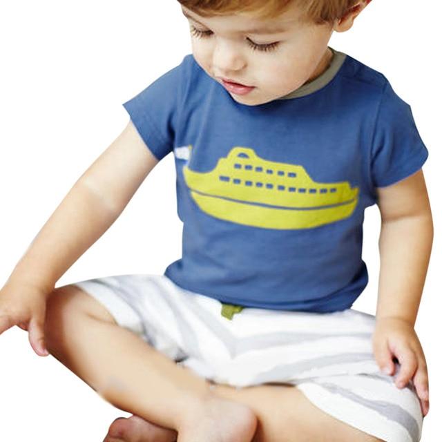 3aa497f9a BOBORA 2 Unids Ropa de Bebé Niño de Manga Corta Azul Barco Patrón T-shirt