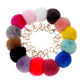 2016 Fashion Rabbit Fur Ball Keychain Colors Highly 8CM Big Metal Real Fur Ball Keyring Bag Charm Fur Ball Pom Pom Keychain