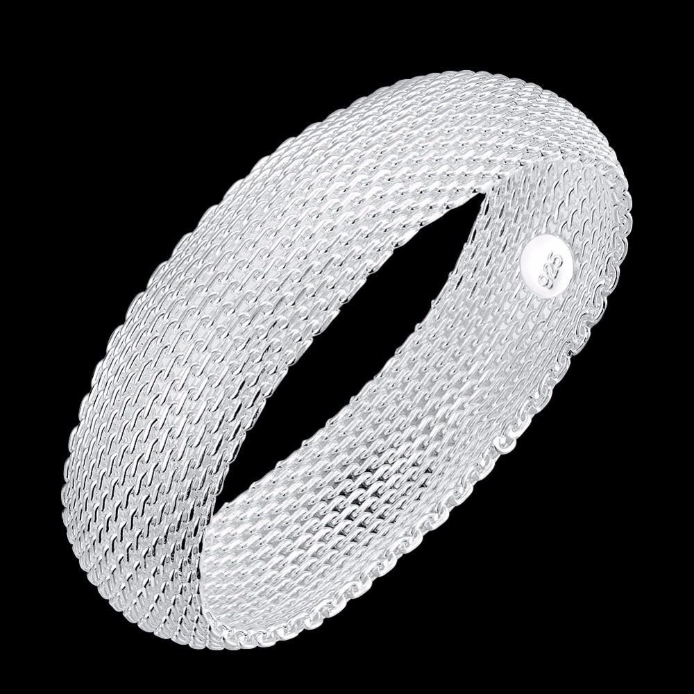 1Pcs 925 Jewelry Silver Mesh Bracelet, 925-sterling-silver Fashion Wide Waist Bangles Jewelry Small Web Knitting Bracelet Bijoux