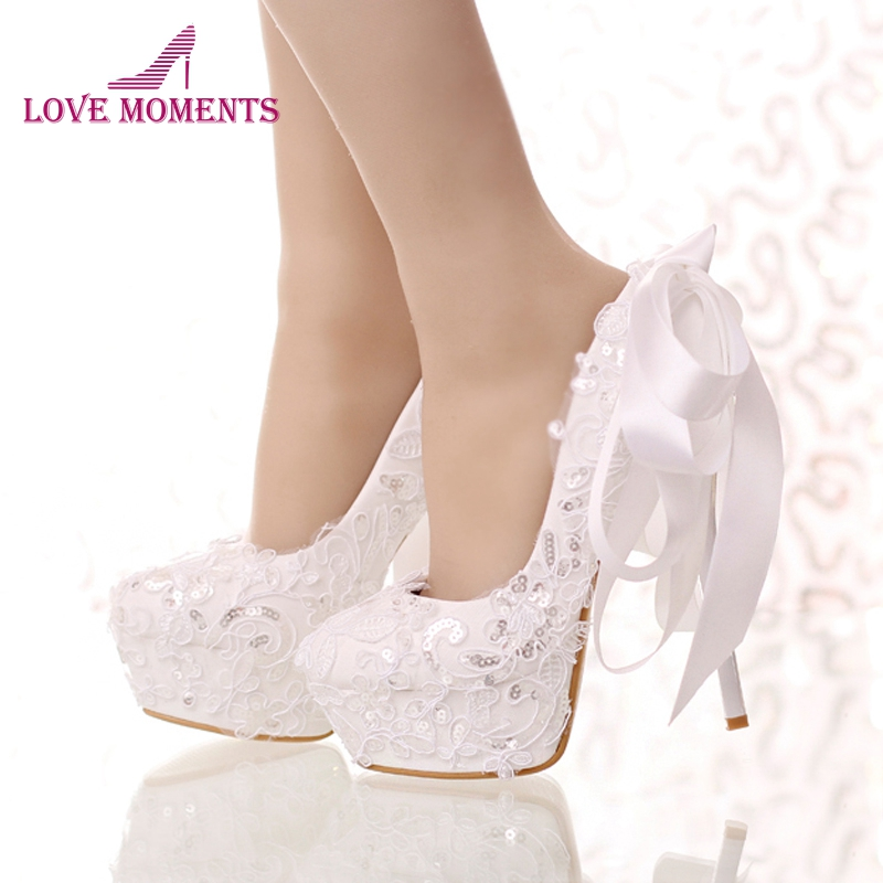 White Lace and Glitter Bride Shoes Round Toe Ribbon Bow Wedding Shoes High Heel Platform Women Party Dress Shoes Bridesmaid Pump women wedding shoes flat heel round toes plus size bride shoes lady female sweet lace pearls proms dress evening party shoes