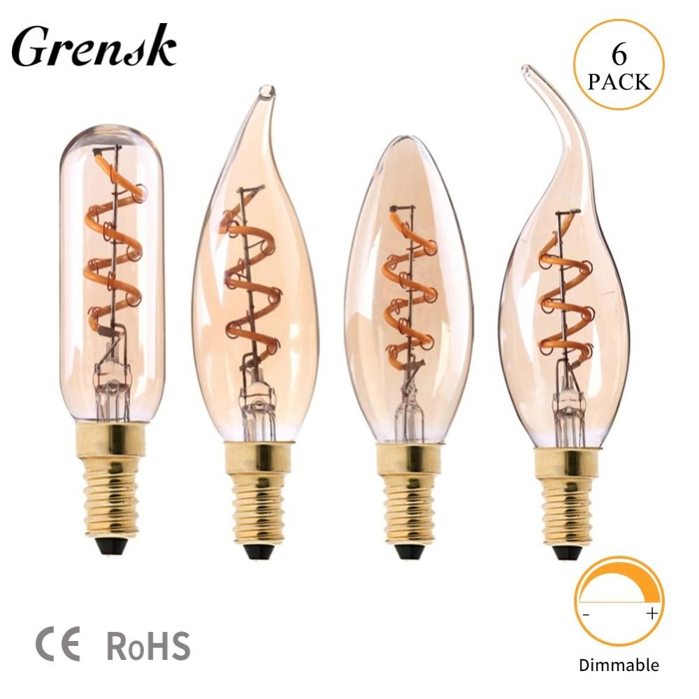 Grensk E14 LED Dimmable Retro Candle Light Filament Spiral Bulb E12 LED Bulb Edison 110V 220V 3W Glass Vintage Lamp T25 C35 C32T