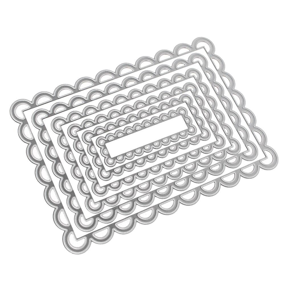 ᓂ6 unids metal Recortes de papel rectángulo Encaje Marcos plata ...