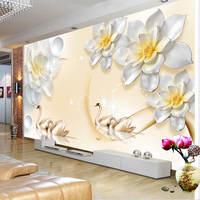 Custom Mural Wallpaper Modern 3D Embossed Flower Swan Living Room TV Background Wall Decal Wall Painting Wall Papers Home Decor