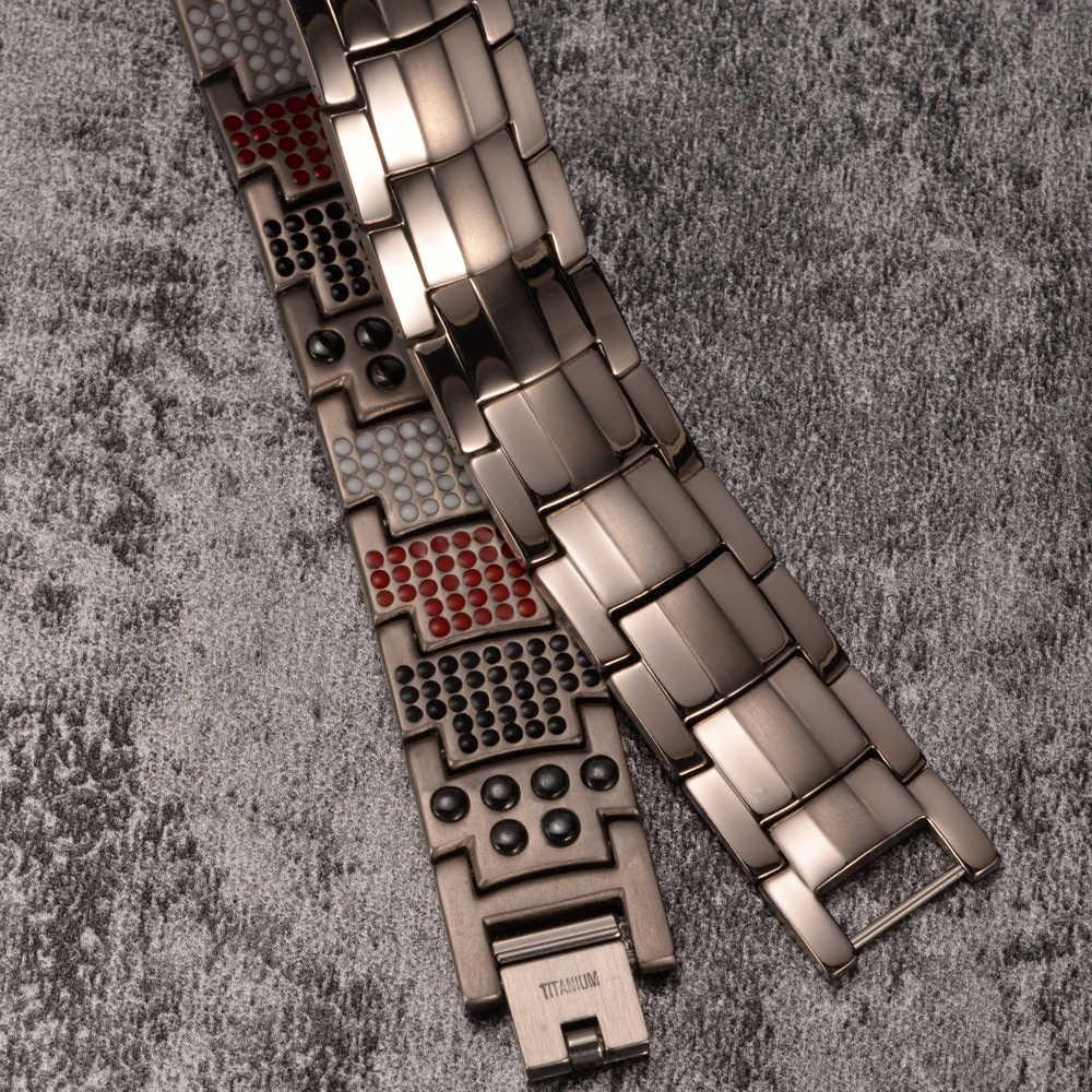 Vinterly健康磁気ブレスレット腕輪ワイド純チタン手チェーンリンクエネルギーゲルマニウムブレスレットメンズファッションジュエリー