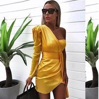 Elegant Ruched Satin Yellow Women Dress One Shoulder Bodycon Party Dress Summer Sexy Dress chic robe