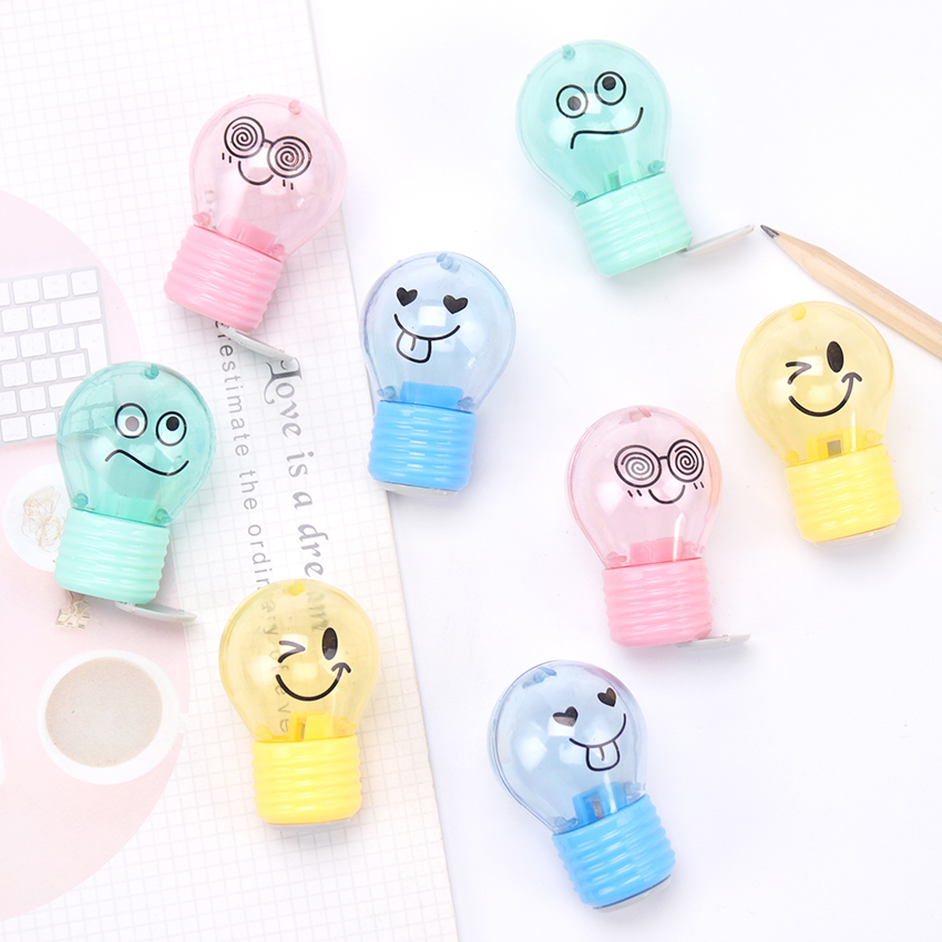 1PC Kawaii Novelty Bulb Style Pencil Sharpener Creative Emotions Plastic Pencil Sharpener For Kids Gifts School Supplies