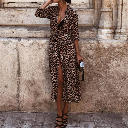 Women Dress Autumn 2019 Ladies Leopard Print Dresses Sexy Women V Neck Long Sleeve Midi Dress Womens Dresses Fall Evening Party 6