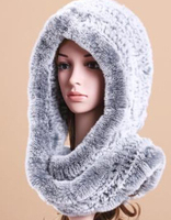 Russain Style Lovely candy Color Winter scarf Soft real rex rabbit Fur head scarf Hat sets luxury neck scarf