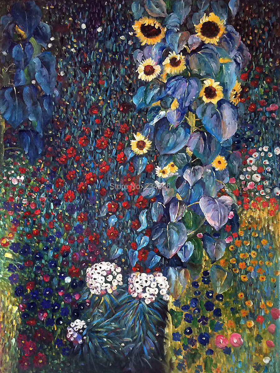 Genial Handpainted Canvas Paintings Farm Garden With Sunflowers By Gustav Klimt  Decoration Oil Painting Reproductions Unframed In Painting U0026 Calligraphy  From Home ...