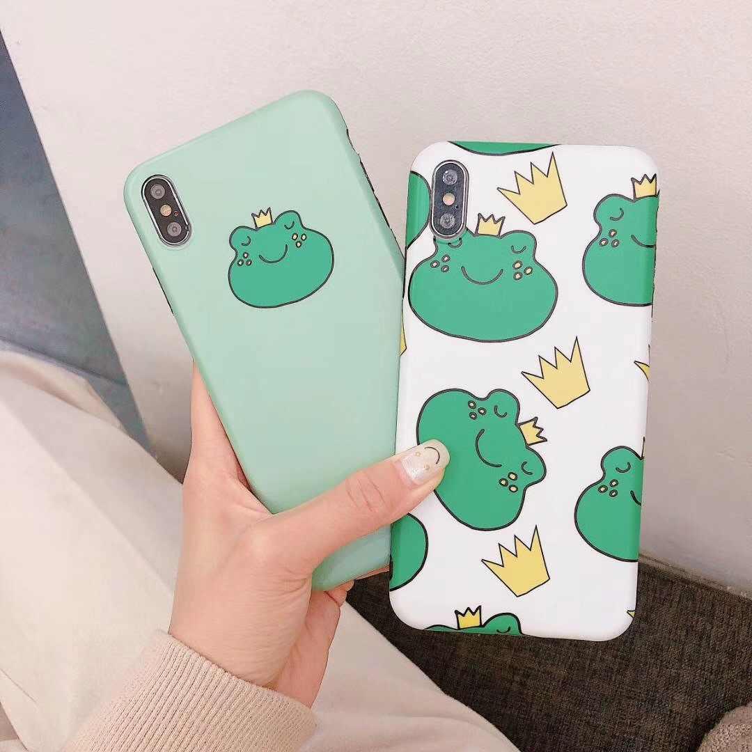 Роскошные матовые Мягкий силикон imd чехол для чехол iPhone 7 плюс 8X10 XS Max XR 6 6 S милая мультяшная Лягушка принц принцесса Kawaii Капа