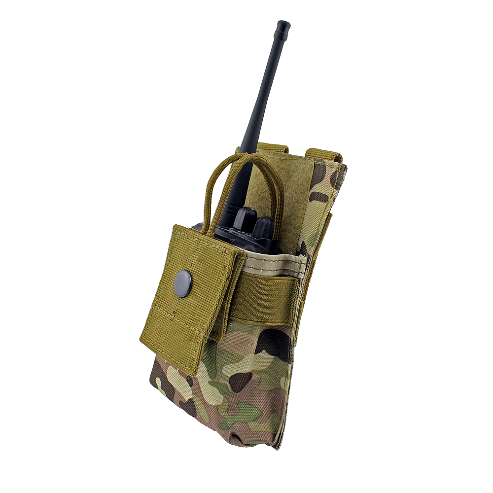 Adjustable MOLLE Radio Holder Tactical Walkie Talkie Holster Open Top M4 Mag Pouch