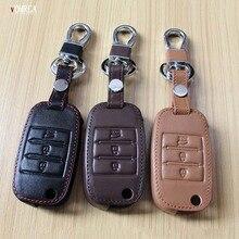 Top layer leathe key case key bag key cover for Kia Ceed Sorento cerato K3 K3S K4 K5 KX3 Sportage KX5 3 buttons remote control