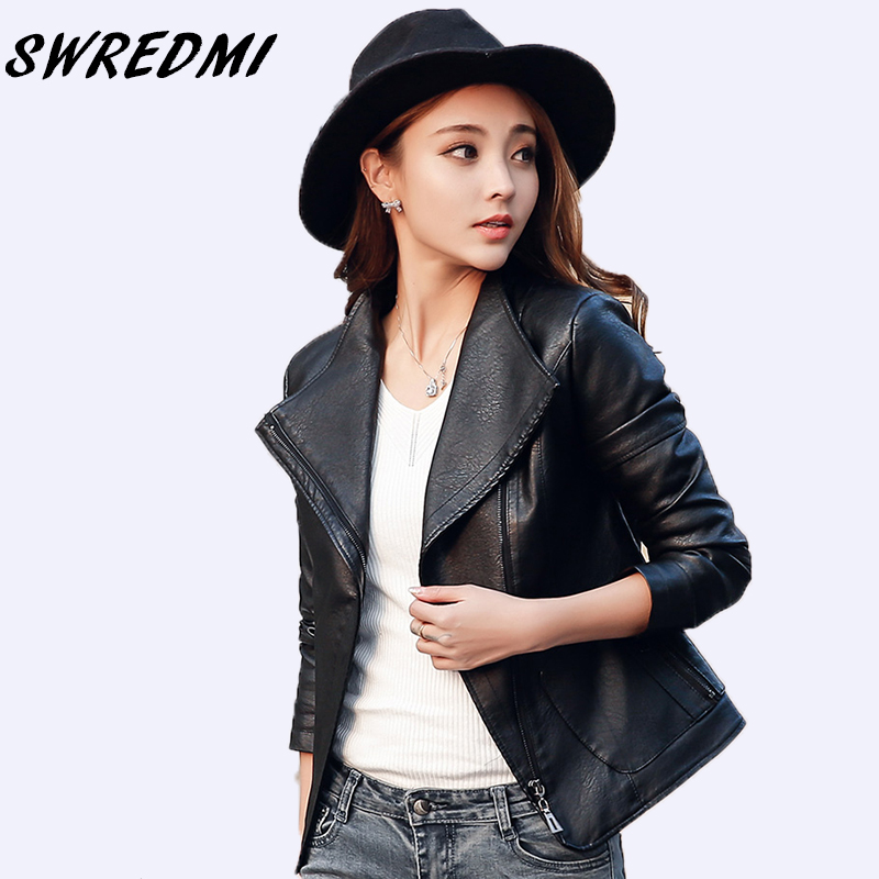 SWREDMI New Slim Casual Black   Leather   Coat Women Big Turn-down Collar Motorcycle   Leather   Jacket Lady Short   Suede   Hot Sale