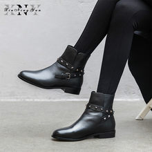 Brand Women Ankle Boots Cow Leather Zipper Rivet Punk Style Fashion Low Heels Women's Boots Size 33-42 Female Martin Boots 2019(China)
