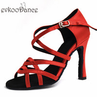 EVKOODANCE Girls Salsa Ballroom Dancing Shoes Red Gold Silver Black Heel 10cm 5cm Professional Women Latin Dance Shoes NL190