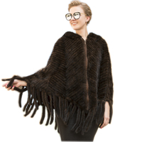 European fur women's poncho Knitted mink fur coat 2019 new arriving women warm shawl poncho warp jackets overcoats with tail