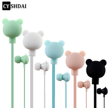 CYSHDAI Colorful Cartoon Cute Earphone Studio with Mic Button Remote Bear Earpod