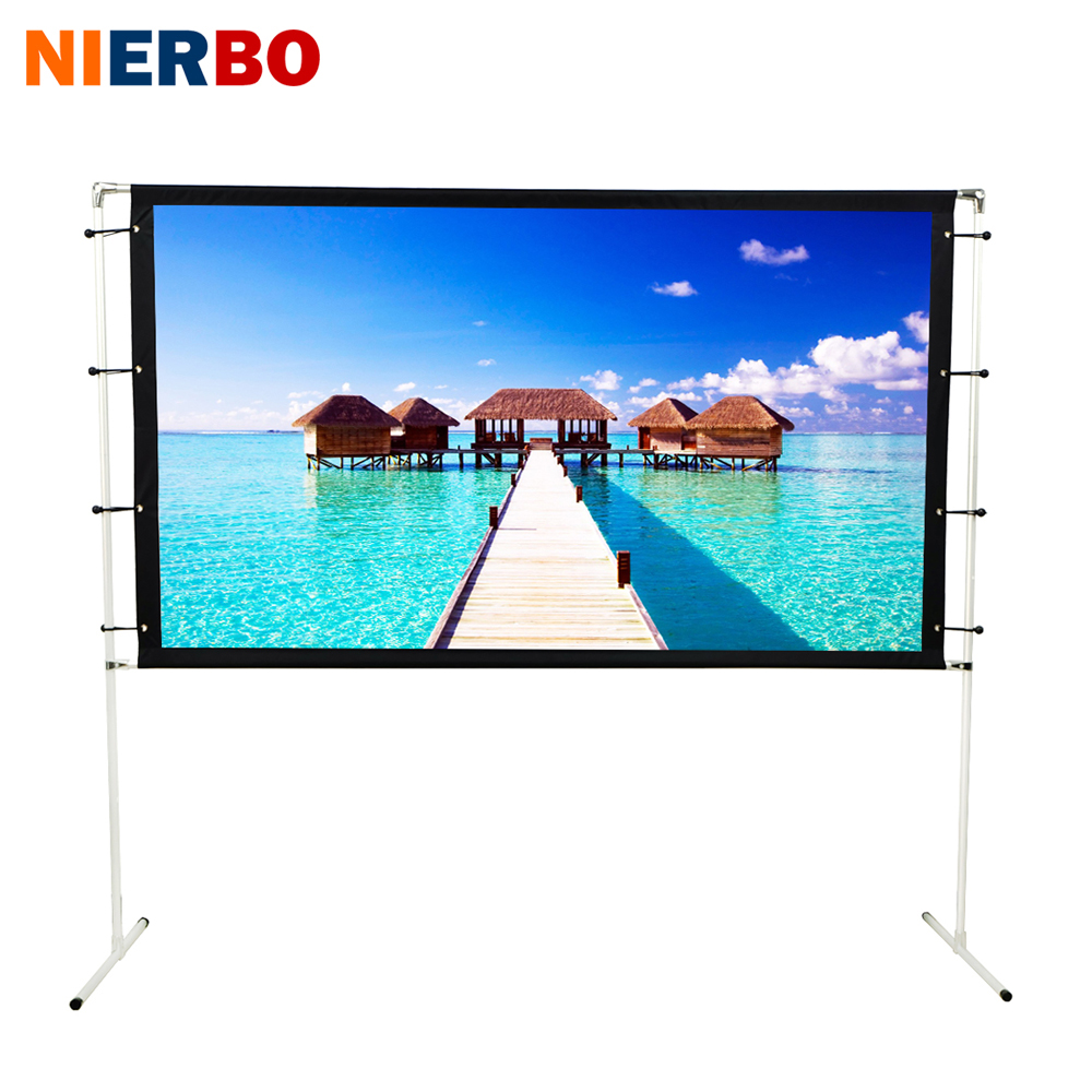 NIERBO Portable Projection Screen 100 inches 120 inches with Frame Tripod Free Carry Bag Mate White Screen 3D Full HD 4K fast free shipping 100 4 3 tripod portable projection screen hd floor stand bracket projector screen matt white factory supply