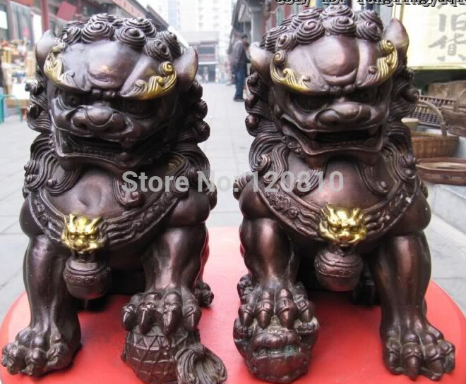 Chinesischen Kupfer Bronze Feng Shui Wächter Böse Tür Bei Jing Fu Foo Hund Lion Pair statue