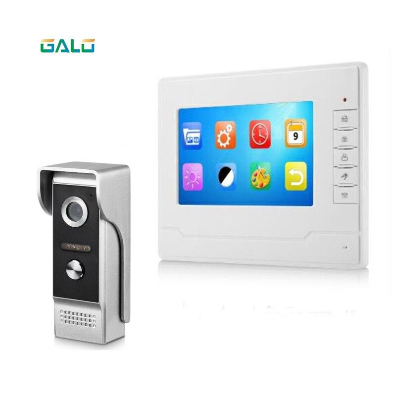 7'' TFT LCD Wired Video Door Phone Visual Video Intercom Speakerphone Intercom System With Waterproof Outdoor IR Camera