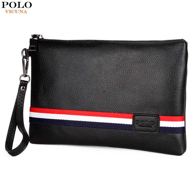 ad6bec1f40147 VICUNA POLO Personalized Striped Mens Clutch High Quality PU Leather Men  Clutch Bags Brand Casual Large