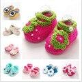 Бренд детская обувь Ручной Работы, детские трикотажные Обувь Девушки крючком, Sapatos Infantis Meninas, Цветок Детские Тапочки Обуви, Без Скольжения,