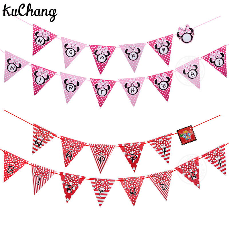 3m Happy Birthday Paper Mickey Minnie Head Banner Party Pennant Bunting Flag Hanging Garlands Baby Shower Birthday Party decor