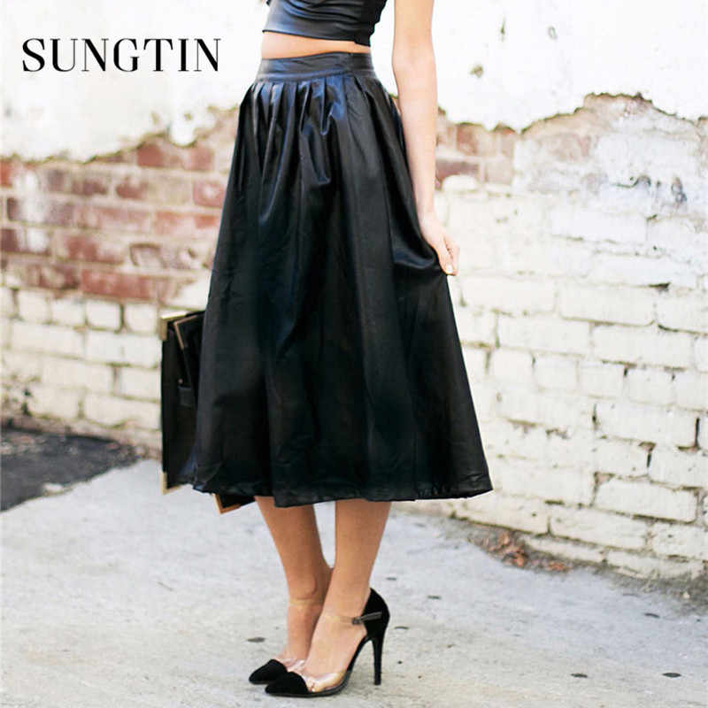 Sungtin Ladies Long Skirts for Women Faux Leather Pu Skirt High-waist Fashion A-line Knee Length Casual Pockets Spring 2019