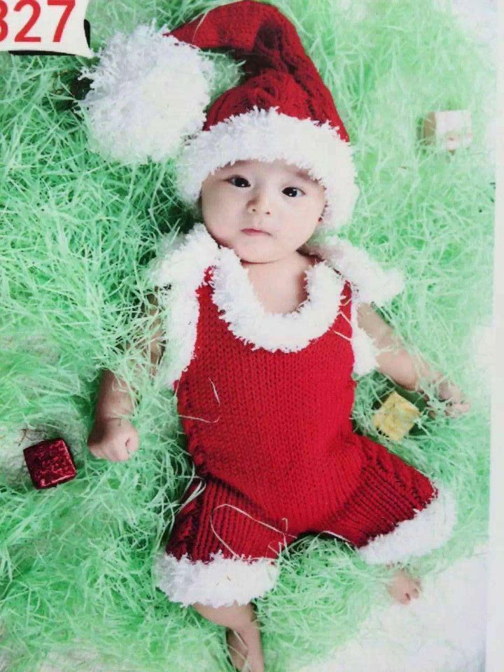 Little Baby Girl Boy Christmas Photography Props Newborn Picture Photo Shoot Crochet Xmas Hat Outfits Clothes Bebe Fotografia In Hats Caps From Mother