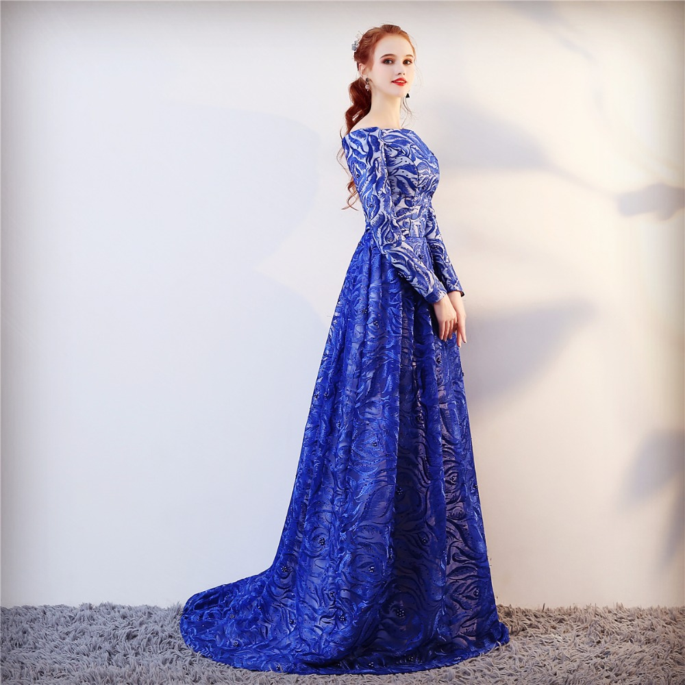 Echte foto lange mouwen formele avondjurk blauwe elegante lange prom - Jurken voor bijzondere gelegenheden - Foto 5