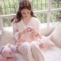 Women's flannel sleepwear royal vintage sweet lace princess nightwear set lounge pajama