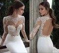 2017 Vestidos De Novia Casamento Robe De Bainha Alta Collar Mangas Compridas Lace Vestidos de Casamento Vestidos de Casamento Vestido de Noiva