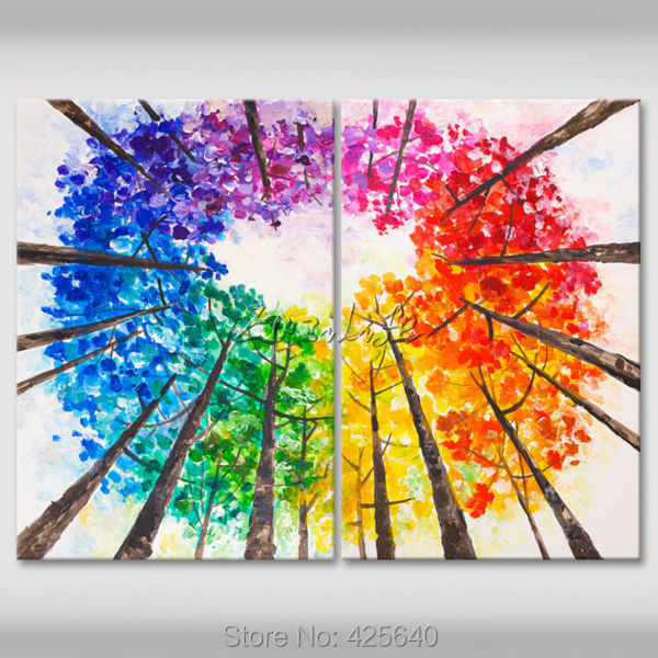 ᑐ2 Piece Hand Painted Palette Knife White Tree Oil Painting Wall ...