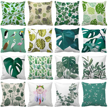 Tropical Plants Palm Leaf Green Leaves Monstera Cushion Covers Hibiscus Flower Cushion Cover Decorative Plush fabric Pillow Case цены