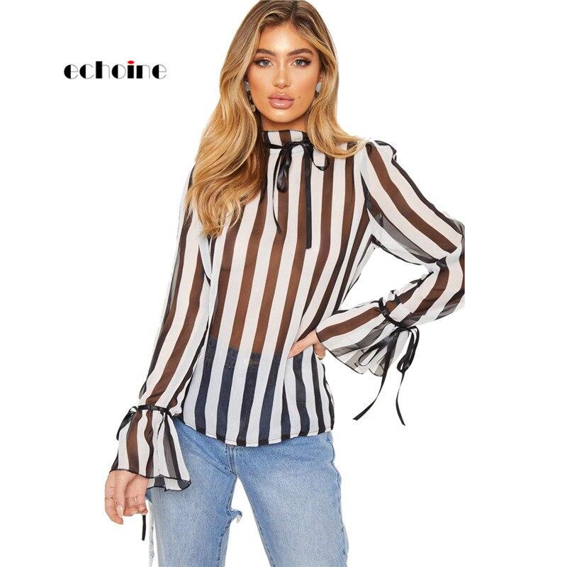 ea7b718ce4 Echoine Sexy camisa blusas para mujer Delgado estampado a rayas arco  perspectiva suelto largo manga cuello alto primavera otoño camisas