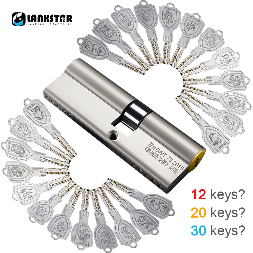 LANXSTAR Brass Over C Grade 12/20/30 Keys Cylinder Anti-theft Door Lock Core Universal Copper Chrome Plated Customize Cylinders door locks security lock cylinders more than 70mm 80mm for 35 50mm thickness door lock for home copper core lock cylinders