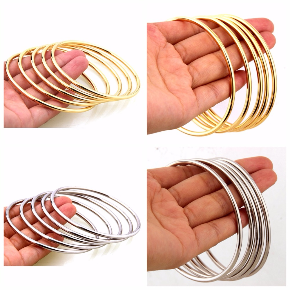 5pcsset Simple Silver Gold Color Smooth Stainless Steel Bangle Classic Fashion Cuff Jewelry Men's Women's Best Party Jewelry
