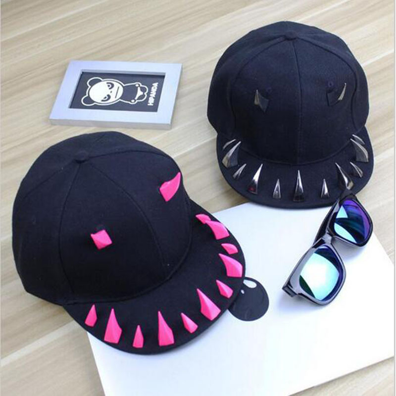 Punk Hip Hop Caps Devil Monster Dental Acrylic Bone Snapback Hats Rivet Baseball Cap Ockstar For Men And Women Bone Aba Reta цены онлайн