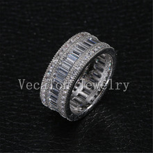 Vecalon Full Princess cut 20ct AAAAA Zircon cz Female Wedding Band 10KT White Gold Filled Engagement Ring for Women Sz 5-11