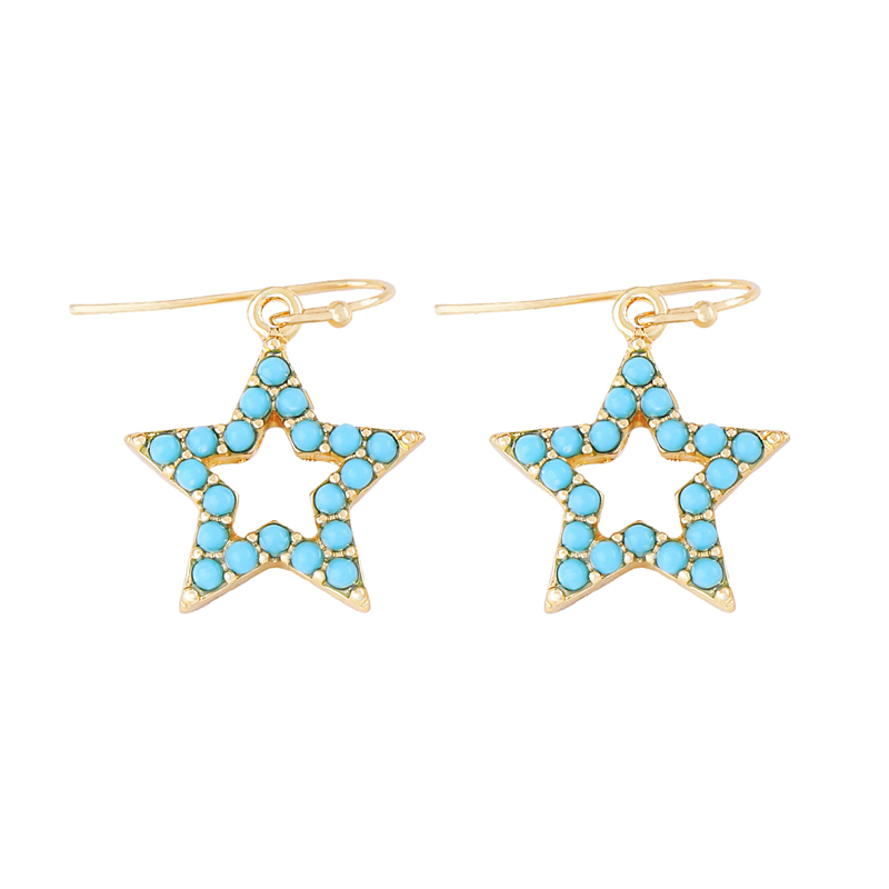 Korean Fashion Resin Blue Hollow Out Pentagram Modern Lady Drop Earrings Freshness Concise Love Charming Maiden
