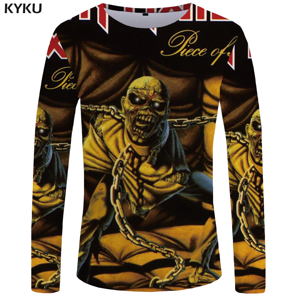 KYKU Iron Maiden Long sleeve T shirt Punk T shirts Gothic Clothes Skull T-shirts  Tops Tees  Clothing Womens 3d Sexy Fashion