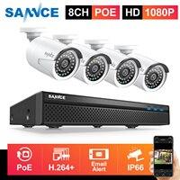 SANNCE ру 8CH 1080P HD POE IP видео безопасности Системы H.265 5MP NVR с 4X2 Мп CCTV уличная Водонепроницаемый IP Камера Встроенный микрофон