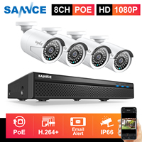SANNCE 8CH 1080P FHD POE Network Video Security System With 4PCS 2MP CCTV Outdoor Weatherproof IP Camera Built in Microphone
